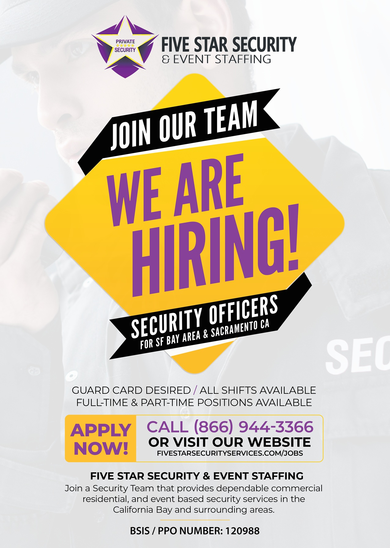Five Star Security & Event Staffing - Oakland CA   We Are Hiring Flyer - Security Officers